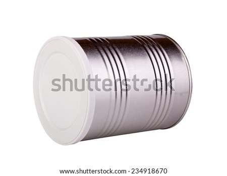 metal tin with a white lid. Isolated on white background. - stock photo