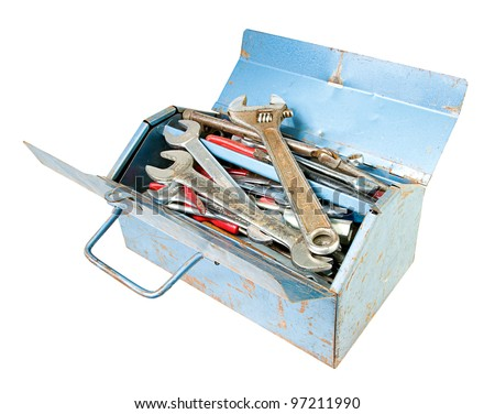 metal toolbox full of tools including spanners isolated on white - stock photo