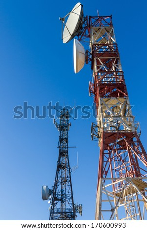 Metal towers or turrets telecommunications satellite dishes and other reception and emission