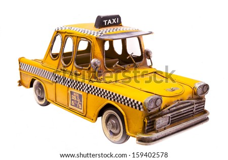 metal toy  taxi - stock photo