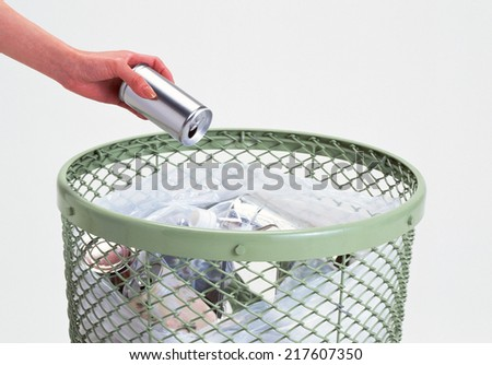 Metal trash bin from paper isolated - stock photo