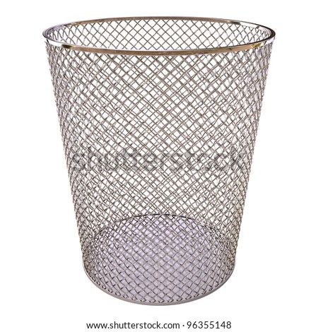 Metal trash bin isolated on white background.