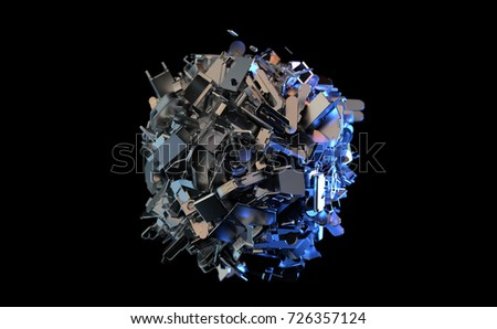 metal trash is collected in a ball, 3d illustration
