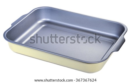 Metal tray with grey non-stick coating isolated on white - stock photo