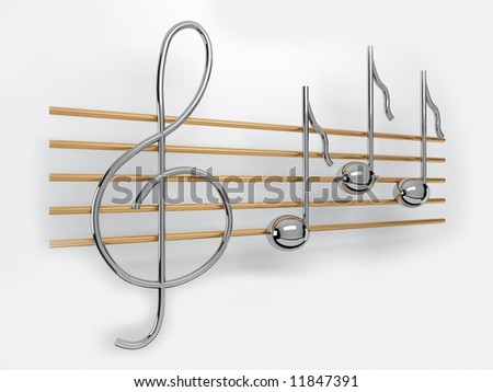 metal treble clef and notes on the staff
