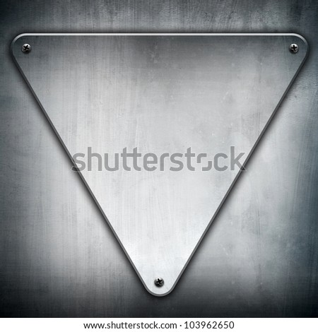 metal triangle plate - stock photo