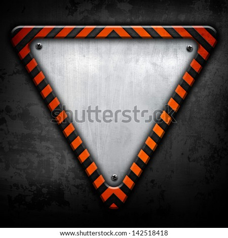 metal triangle plate - stock photo