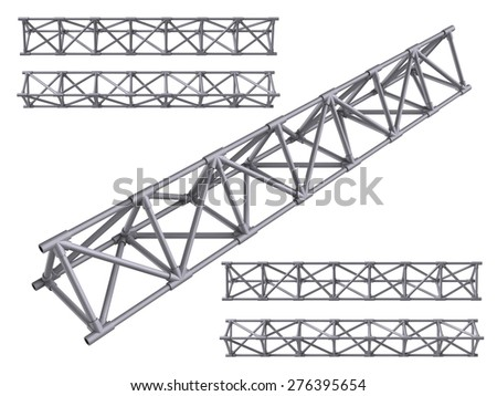 Metal trusses set isolated on white - stock photo