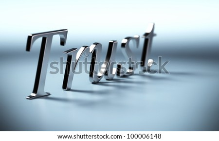 metal trust word 3d render with perspective and blur effect, blue background with shadow - stock photo