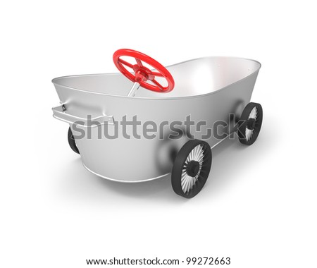 metal tub on wheels in the style of car