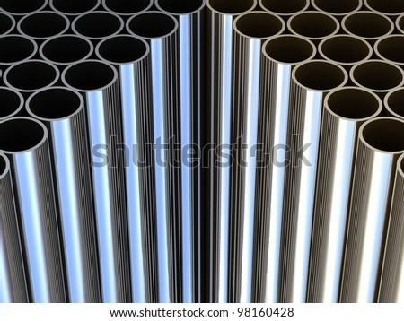 Metal tubes background - stock photo