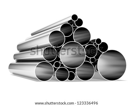 Metal tubes isolated on a white background