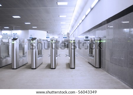 Metal turnstiles in the underground