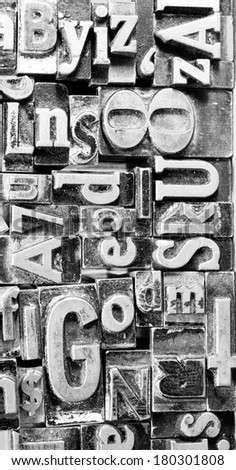 Metal Type Printing Press Typeset Obsolete Typography Text Letters - stock photo