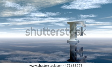 metal uppercase letter f under cloudy sky - 3d rendering