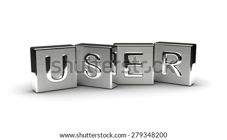 Metal User Text (Isolated on white background) - stock photo