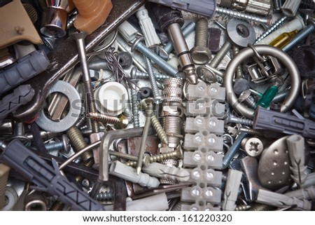 Metal various parts and tools texture