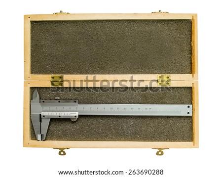Metal vernier caliper in wooden box package - stock photo