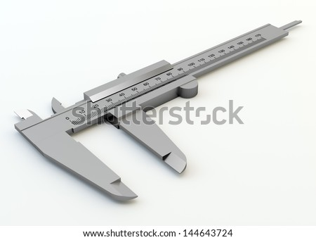 Metal vernier caliper isolated on white background - stock photo