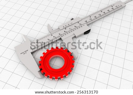 Metal Vernier Caliper over Graph Paper on a white background - stock photo