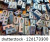 metal vintage letterpress printing blocks - stock photo
