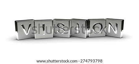 Metal Vision Text (isolated on white background) - stock photo