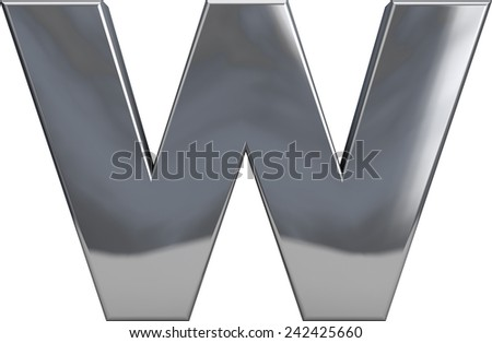 Metal W letter character isolated on white. Including clipping path. Part of complete alphabet set. - stock photo