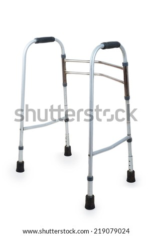 Metal walker isolated on white background - stock photo