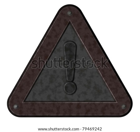 metal warning roadsign on white background - 3d illustration