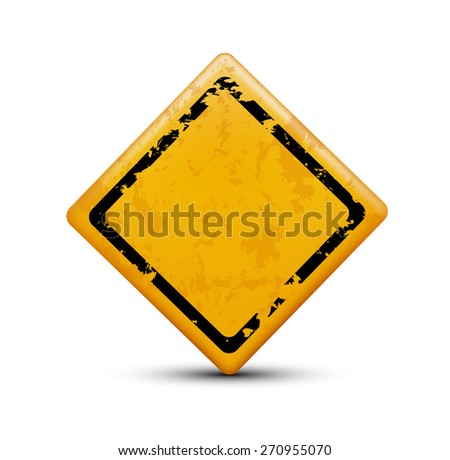 metal warning sign isolated on white background