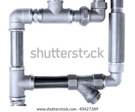 Metal water pipes on a white background - stock photo