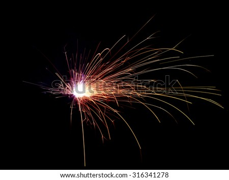 Metal Welding with sparks. - stock photo