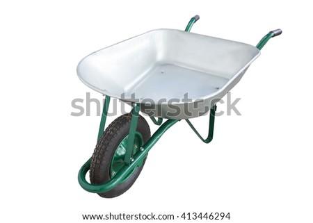 metal Wheelbarrow, with one wheel isolated - stock photo
