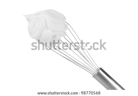Metal whisk for whipping eggs with cream isolated on white - stock photo