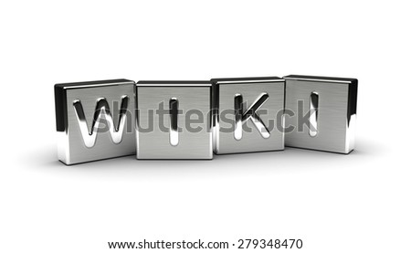 Metal Wiki Text (Isolated on white background) - stock photo