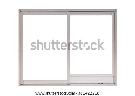 Metal window frame isolated on white background - stock photo