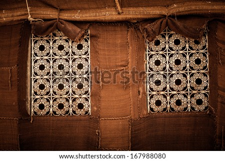 Metal windows on a desert Berber tent
