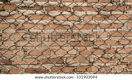 Metal wire and brick wall,Vintage style enhance