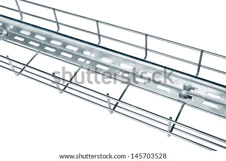 Metal wire cable tray installation of current-carrying wires with a partition made of tin - stock photo