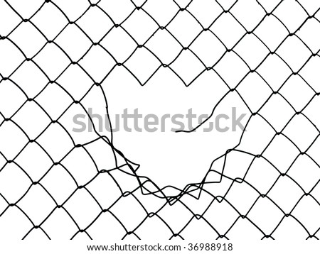 Metal wire fence protection chainlink background