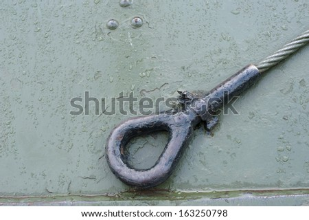 Metal wire welding tank war military. green element. old vintage rust transport mount - stock photo