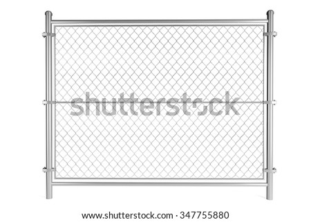 Metal Wired fence on a white background - stock photo