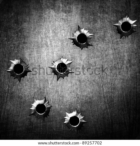 metal with bullet hole