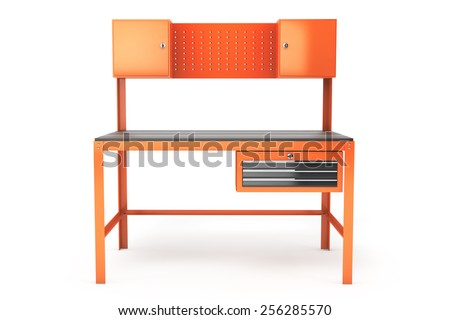 Metal Work Bench on a white background - stock photo