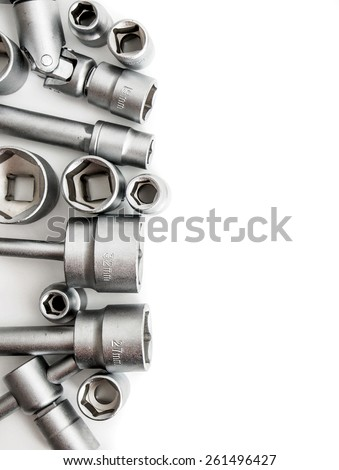 Metal working tools. Metalwork. Set spanner on a white background.