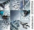 Metal workshop tools, supplies set. - stock photo
