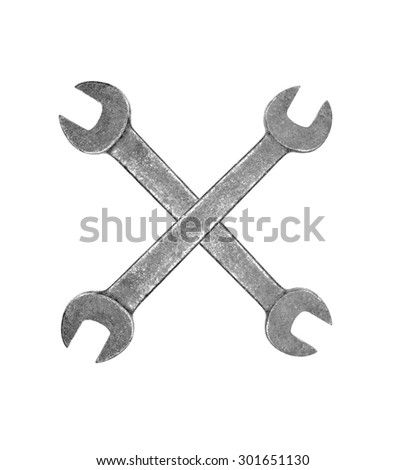 Metal wrenches isolated on white background