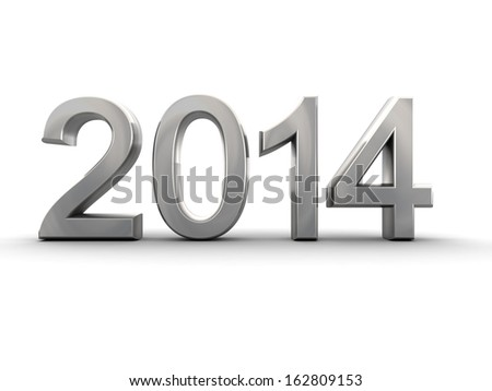 Metal year 2014 in white background 3d illustration
