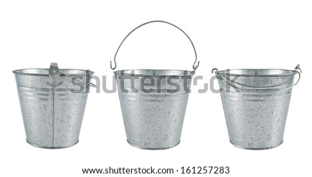 Metal zinc bucket isolated over white background, set of three foreshortenings
