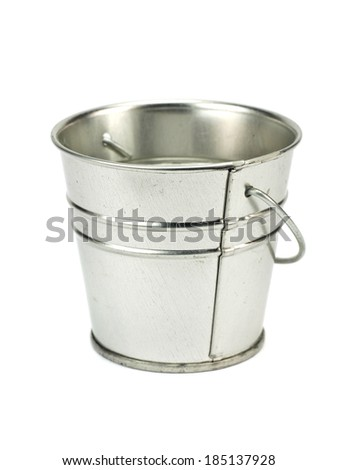 Metal zinc bucket on a white background
